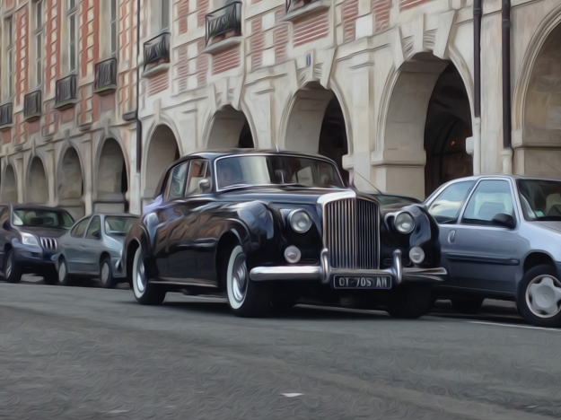 Black Bentley S2 Saloon Street Parked in Paris
