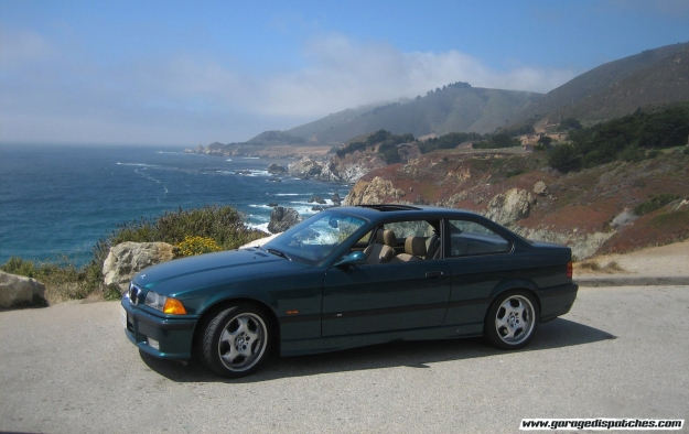 Green BMW E36 M3 in Big Sur PCH CA-1